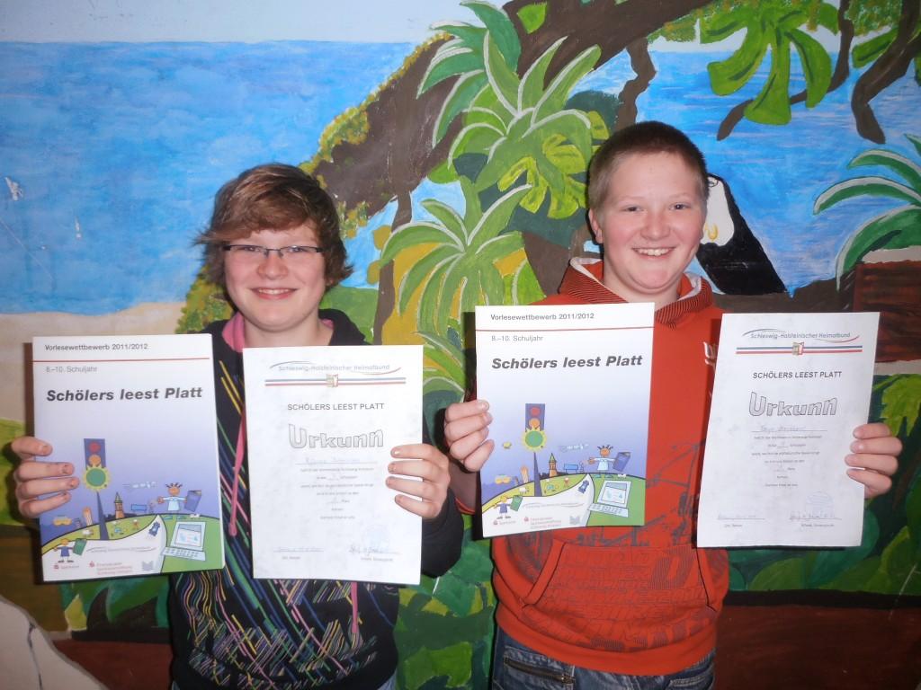 Unsere Schulsieger: Bjarne Börensen (7b) und Torge Mordhorst (9b)
