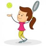 girl serving tennis ball clipart